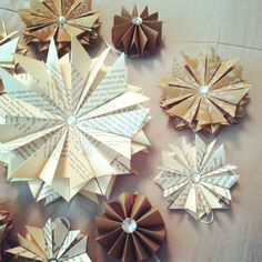 10 Paper Star Ornaments Assortment Vintage Book Pages-Brown Paper- White Floral Design- Handcut and Folded on Etsy, $30.00