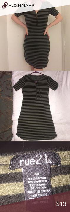 39c9b72d2ee Rue 21 Green and Black Striped Dress Size Medium Dark Green & Black striped  above the