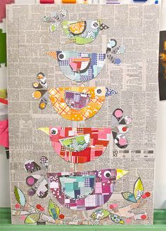 an art piece, but an example of something you could do in an art journal. Original pin text: Collage Folk Art Birds grade auction item on canvas board 22 x 28 Art Altéré, Journal D'art, Art Journals, Vogel Quilt, Arte Elemental, Newspaper Art, Art Populaire, Quilting, Bird Quilt