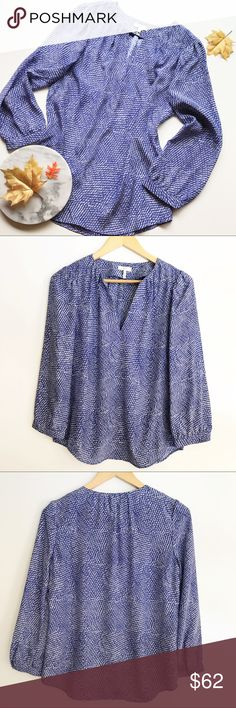 "Joie 100% Silk Popover Blouse Blue Print Size XS Gorgeous Joie popover silk blouse, in a blue and white print. Gently pre-owned, no flaws, very nice condition! Size XS. Underarm to underarm: 19"" Length, shoulder to hem: 25"". (Inventory I19) Joie Tops Blouses"