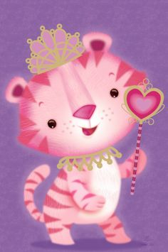 Pink Princess Tiger - Lynn Gaines Design and Illustration