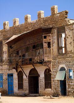 Very old mashrabiya, Massawa old town, Eritrea