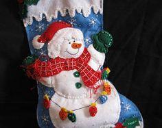 Snowman Holding Lights Felt Stocking