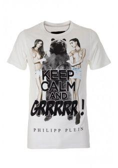 Philipp Plein - 'Keep Calm' T Shirt White Front (FW14-HM342119)