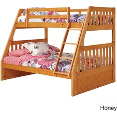 Woodcrest Pine Ridge Twin Full Mission Bunk Bed ($599) ❤ liked on Polyvore featuring home, children's room, children's furniture and natural