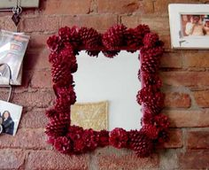 christmas crafts pinecone mirror red