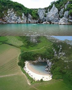 Playa de Gulpiyuri, Asturias de mis amores.