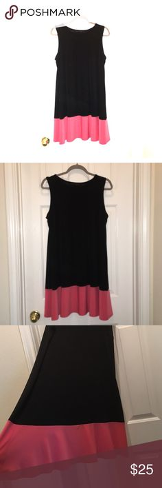 "🔥ONE DAY SALE - Tiana B Color Block Dress 💃🏻👗 Only worn 1 time - super comfortable and love that you can wear a regular bra 👏🏼😍 length is 34"" from shoulder down - loose fitting swing type fit - colors are black and light pink / salmon - make me an offer! Tiana B Dresses"