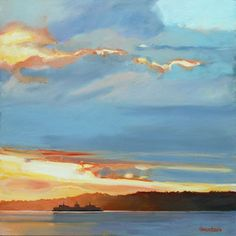 Sunset Ferry Crossing Blake Island by Gretchen Hancock 30 x 30 oil