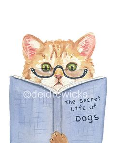 Kitten Cat Watercolor PRINT Cat with Glasses by WaterInMyPaint