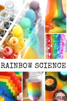 Rainbow science experiments and activities for kids STEM. Rainbow science activities include making slime, growing crystals, building rainbows, and erupting rainbows!