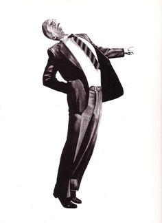 ROBERT LONGO Men In The Cities Print Business Corporate Black and White ART Retirement Man Office Attire Striped Diagonal Tie Mens suit