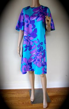 Vintage 70' Hawaiian Dress Purple Seaweed & by IhanaStyle on Etsy, $35.00