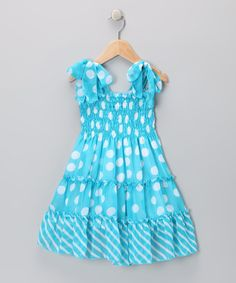 Take a look at this Lele for Kids Blue Polka Dot Chiffon Dress - Toddler & Girls on zulily today!