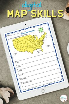 Digital map skills for 3rd, 4th, and 5th graders. Social Studies built for Google classroom. Skills, Map, Digital, Political Map, Teaching Social Studies, 3rd Grade Activities, Activities, 5th Grade Activities, Social Studies Projects