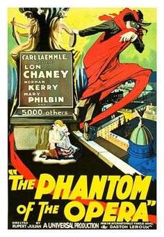 Phantom of the Opera Vintage Movie Poster Lithograph Lon Chaney Hand Pulled  S2 #ArtDeco