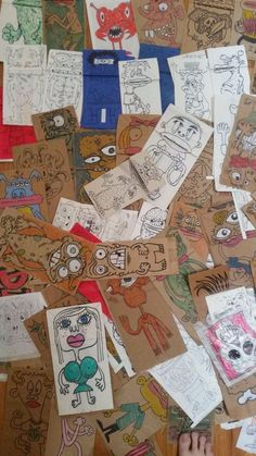 Hand drawn paper bag puppets lot. Savage Monsters! Outsider Art by Dave Savage