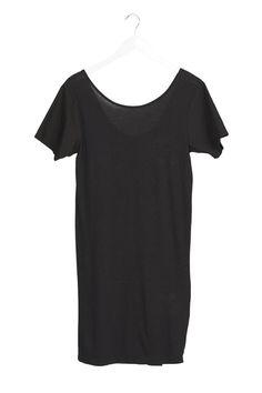 poplin jersey open back dress black | bassike.com