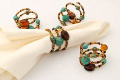 Beaded Napkin Rings - Set of Four - Teal and Brown - Southwestern - Serviette Rings on Etsy, $24.00