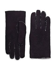 Saks Fifth Avenue Collection Shearling Gloves - Brown - Size