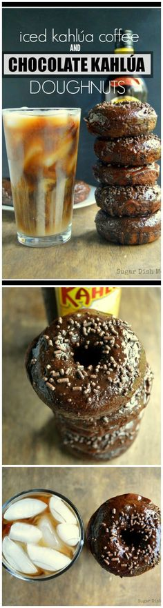 Rich dark chocolate doughnuts topped with chocolate frosting and the delicious rum + coffee flavor of Kahlúa!