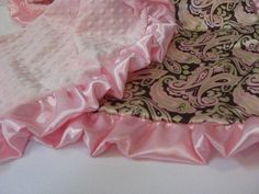 Pink Minky and Satin Blanket