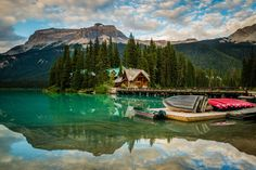 Yoho National Park, CanadaOverlooking Emerald Lake, this Canadian lodge is surrounded by the forest of Yoho National Park. Thanks to its close proximity to mountain resorts, ski slopes, and scenic hiking trails, it's an excellent destination for outdoorsy types—heck, you can even spend a day rowing or kayaking on the lake.