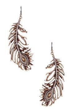 Two-Tone Feather Dangle Earrings