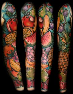 like the color, scale and style.Fruit sleeve #tattoo