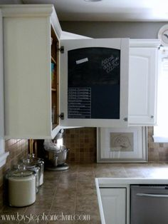 Kitchen Cabinet Door Magnetic/Chalkboard Message Center - how to make it yourself!    Awesome:)