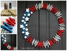 DIY Patriotic Wreath - An easy tutorial on how to make a clothespin 4th of July wreath