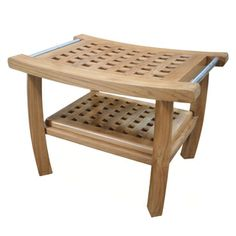 Total Teak Shower Bench with Removable Spa Bath Mat