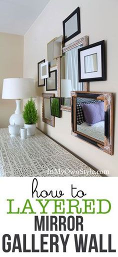 Gallery Wall with a twist...use mirrors and mount them on the wall to create a 3D effect. | In My Own Style