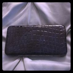 Crocodile Inspired Blue Wallet Clutch