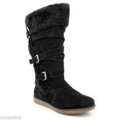 BareTraps Women's Perform Suede Black Faux Fur Stay Dry Winter Boots Size 6 M #BareTraps #FashionMidCalf