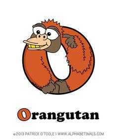 Orangutan - Alphabetimals make learning the ABC's easier and more fun! http://www.alphabetimals.com
