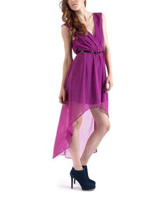 Take a look at this Soie Shop Magenta Chiffon Belted Hi-Low Dress on zulily today!