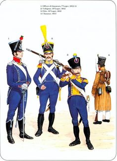 1_Officier chasseurs 7e Leger 1812-14 2_Voltigeur 10e Leger 1812 3_Flutiste 10e Leger 1812 4_Chasseur 1813