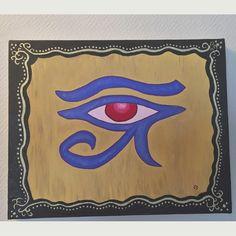 """Fascinée par l'oeil d'Horus et ses représentations, j'ai fait un 2ème tableau. La symbolique de l'oeil d'Horus est """" Le bien repoussant le mal. Mais il représente également la santé et l'intégrité, l'union des êtres en une seule entité."""" #expressiondesoi Painting, Board, Paintings, Draw, Drawings"""