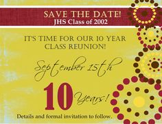 Custom Class Reunion Save the Date by Joyinvitations on Etsy High School Class Reunion, 10 Year Reunion, High School Classes, Reunion Invitations, Invites, Reunion Decorations, Work On Yourself, Save The Date, Dating