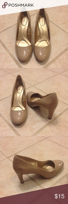 Bandalino- nude heels. Size 8. Nude heels. Worn once. Has small marker smudge on side that is pictured. Shoes Heels