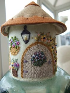Custom Order for PAULINE by sweetheartsandroses on Etsy Craft Stick Crafts, Felt Crafts, Diy Crafts, Beaded Embroidery, Hand Embroidery, Felt House, Wool Quilts, Creative Textiles, Fabric Houses
