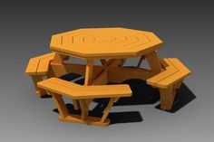 Octagon Picnic Table With Plans - STEP / IGES, AutoCAD, Other, Autodesk Inventor - 3D CAD model - GrabCAD