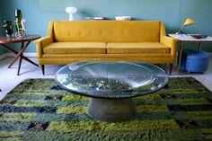 On Hold Sofa 1950's 60's Mid Century Modern Golden Mustard Color Madmen Style. $1,200.00, via Etsy.
