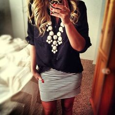 Mini skirt, great necklace, button down