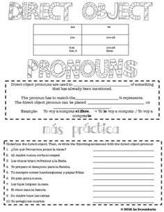 Use the Direct Object Pronoun Graphic Organizer to introduce new grammar to your students. Practice section included.