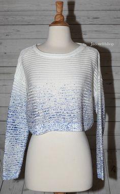Olive + Oak Sz M Crop Top Sweater Shirt White Blue Splatter Long Sleeve NWT NEW #OliveOak #ScoopNeck