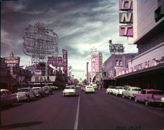 "Fremont Street, circa 1958. Part of the ""Dreaming the Skyline: Resort Architecture and the New Urban Space"" digital collection."