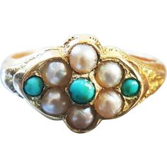Antique Victorian Turquoise Cabochon and Pearl Mourning Ring with Repoussé and Chasing in 15K Yellow Gold US 5 1/4