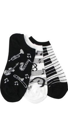 Three Musical Pack (1 Piano, 1 Instrument, 1 Music Note) Footie Socks in Black…